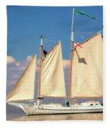 Schooner On Mobile Bay Fleece Blanket