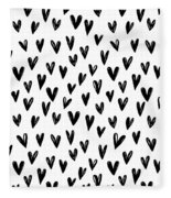 Seamless Pattern With Hand Drawn Hearts.  Fleece Blanket