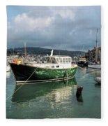 September Morning - Lyme Regis Harbour Fleece Blanket
