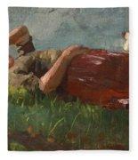 Shepherd Girl Resting Fleece Blanket