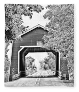 Shimanek Covered Bridge -surreal Bw Fleece Blanket