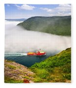 Ship Entering The Narrows Of St John's Fleece Blanket
