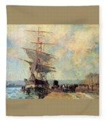 Ship In Harbour Rouen Albert-charles Lebourg Fleece Blanket