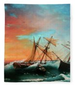 Ships In A Storm At Sunset Fleece Blanket