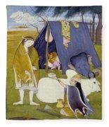 Shiva And His Family Fleece Blanket