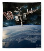 Shuttle Docked At Space Station Fleece Blanket