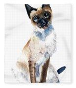 Siamese Cat Painting Fleece Blanket