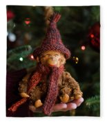 Silly Old Monkey Toy In A Child Hands Under The Christmas Tree Fleece Blanket