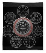 Silver Seal Of Solomon Over Seven Pentacles Of Saturn On Black Canvas  Fleece Blanket