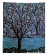 Single Tree On The Grand River Fleece Blanket