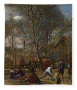 Skittle Players Outside An Inn Fleece Blanket