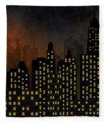 Skyscrapers - Panorama Of Modern Skyscraper Town Fleece Blanket