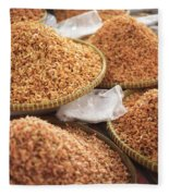 Small Asian Dried Shrimp In Kep Market Cambodia Fleece Blanket