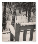 Snow Covered Benches Fleece Blanket