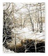 Snow-covered Stream Banks, Pennsylvania Fleece Blanket