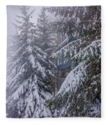 Snow Covered Trees In The North Carolina Mountains During Winter Fleece Blanket