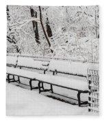 Snow In Central Park Nyc Fleece Blanket