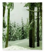 Snow In The Forest Fleece Blanket