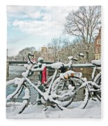 snowy Amsterdam in the Netherlands Fleece Blanket