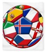 Soccer Ball With Flag Of Iceland In The Center Fleece Blanket
