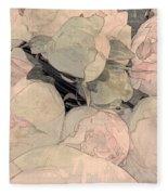 Soft Pink Peonies Fleece Blanket