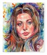 Sophia Loren Painting Fleece Blanket