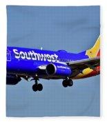 Southwest Airlines Airplane In Flight Fleece Blanket