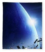 Space Junk Orbiting Earth Fleece Blanket