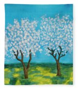 Spring Garden, Painting Fleece Blanket
