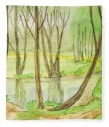 Spring Landscape, Painting Fleece Blanket