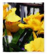 Spring Rain Through Old Glass Fleece Blanket