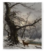 Stag In A Snow Covered Wooded Landscape Fleece Blanket