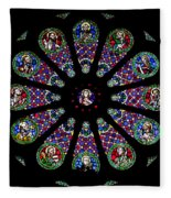 Stained Glass Rose Window In Lisbon Cathedral Fleece Blanket