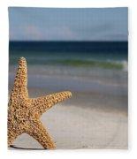 Starfish Standing On The Beach Fleece Blanket