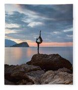 Statue In Budva Montenegro Fleece Blanket