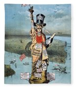 Statue Of Liberty Cartoon Fleece Blanket