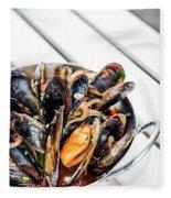 Stewed Fresh Mussels In Spicy Garlic Wine Seafood Sauce Fleece Blanket