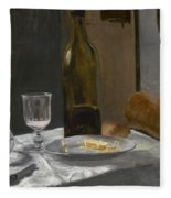 Still Life With Bottle Carafe Bread And Wine Fleece Blanket
