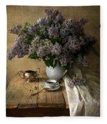 Still Life With Bouquet Of Fresh Lilacs Fleece Blanket