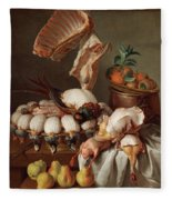 Still Life With Dressed Game, Meat And Fruit Fleece Blanket
