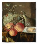 Still Life With Fruit And Oysters On A Table Fleece Blanket