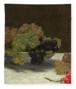 Still Life With Grapes And A Carnation Fleece Blanket