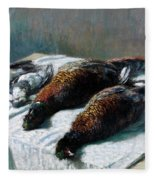 Still Life With Pheasants And Plovers Fleece Blanket