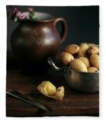Still Life With Potatoes Fleece Blanket