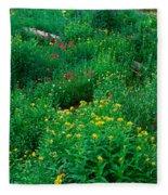 Stream And Alpine Flowers, Ouray Fleece Blanket