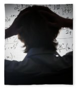 Student Holding His Head Looking At Complex Math Formulas On Whiteboard Fleece Blanket