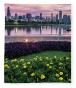 summer flowers and Chicago skyline Fleece Blanket