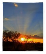 Sun Rays At Sunset With Tree And Saguaro Fleece Blanket