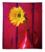 Sunflower In Red Pitcher Fleece Blanket