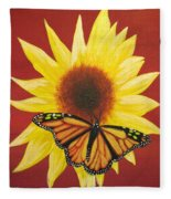 Sunflower Monarch Fleece Blanket
